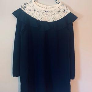 Valentino Long-Sleeve Dress w/Lace Trim Collar